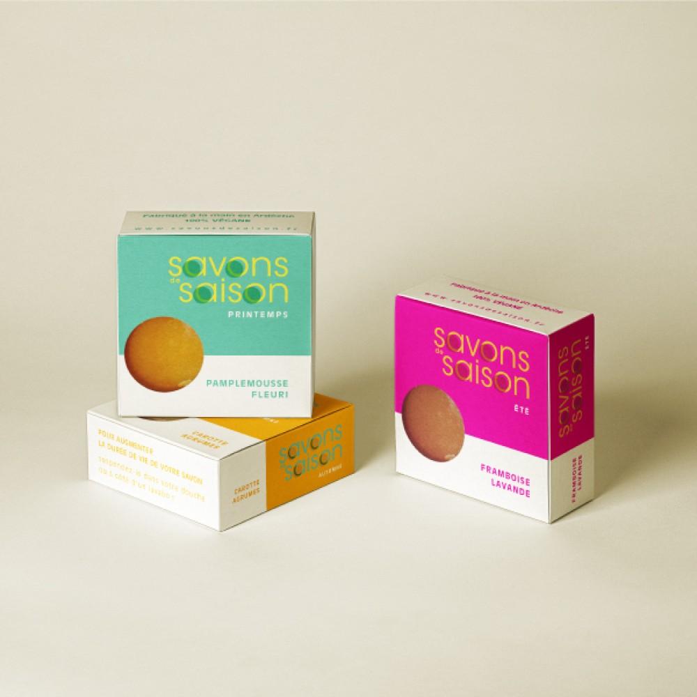 Aperçu de notre travail pour Savons de Saison  - D'ailleurs - Studio de design graphique éthique